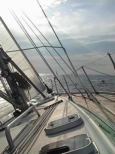 Deck, looking forward while under sail.