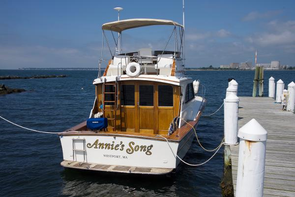 "Egg Harbor 33 Sport Fisherman ""Annie's Song"" at her private Dock"