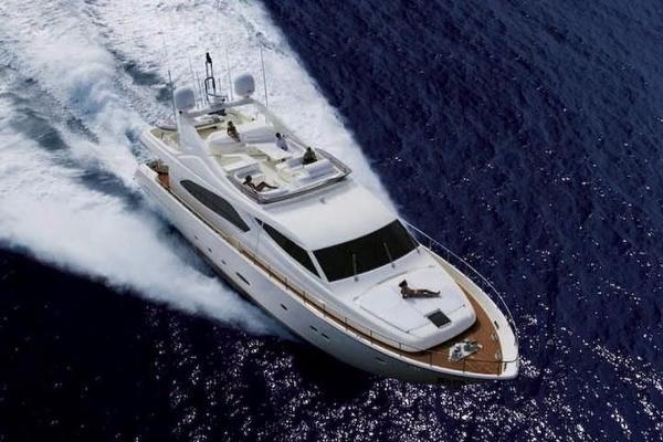 Ferretti Yachts 881 Hard top fast motor yacht.