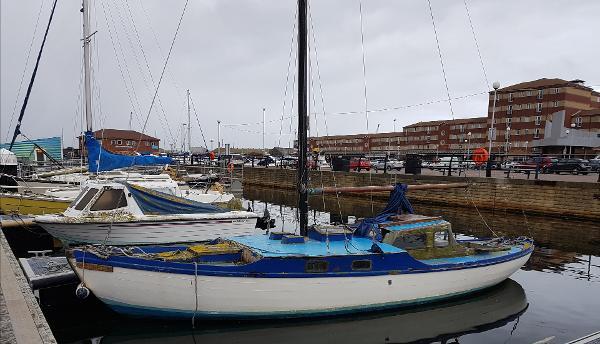Folkboat Lymington 5 tonner Port side Feb 2018