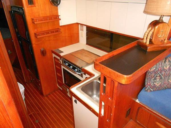Looking down into the galley