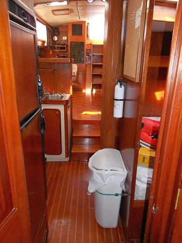 Looking aft from the forward stateroom