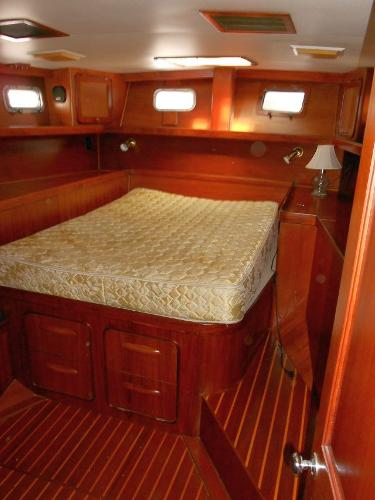 A great master stateroom with a real mattress! Storage is everywhere.