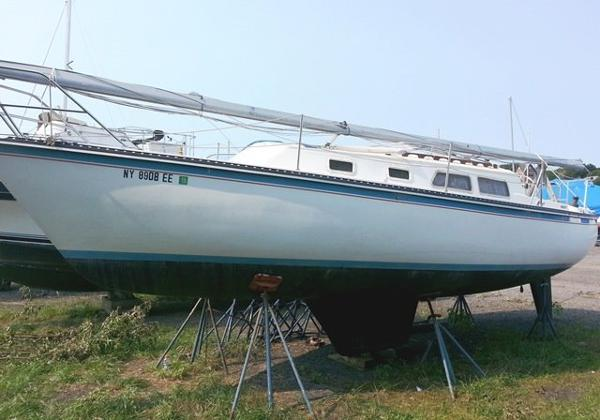 Newport 30 Mk III Port side on hard