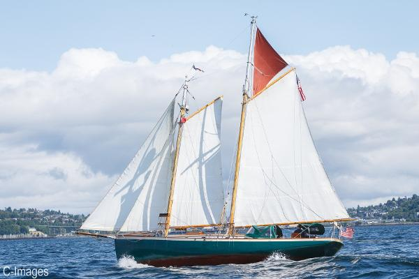 Hodgdon Bros. Stadel Gaff Topsail Schooner Under Sail 3