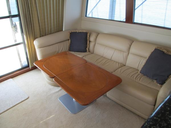 Salon Port Seating with extended Table Facing Aft