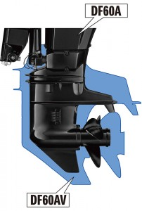 The new DF60AV outboard motor from Suzuki uses the larger gearcase from the DF140.