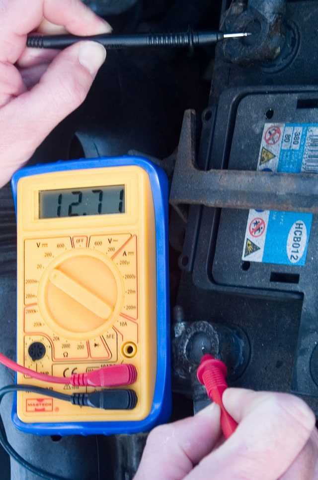 Checking battery power with a meter