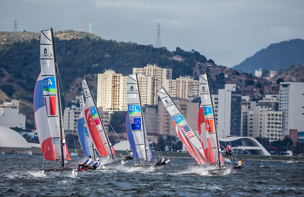 Nacra 17 fleet. 2016 Rio Olympic Games: Sailing: Photo Sailing Energy/World Sailing.