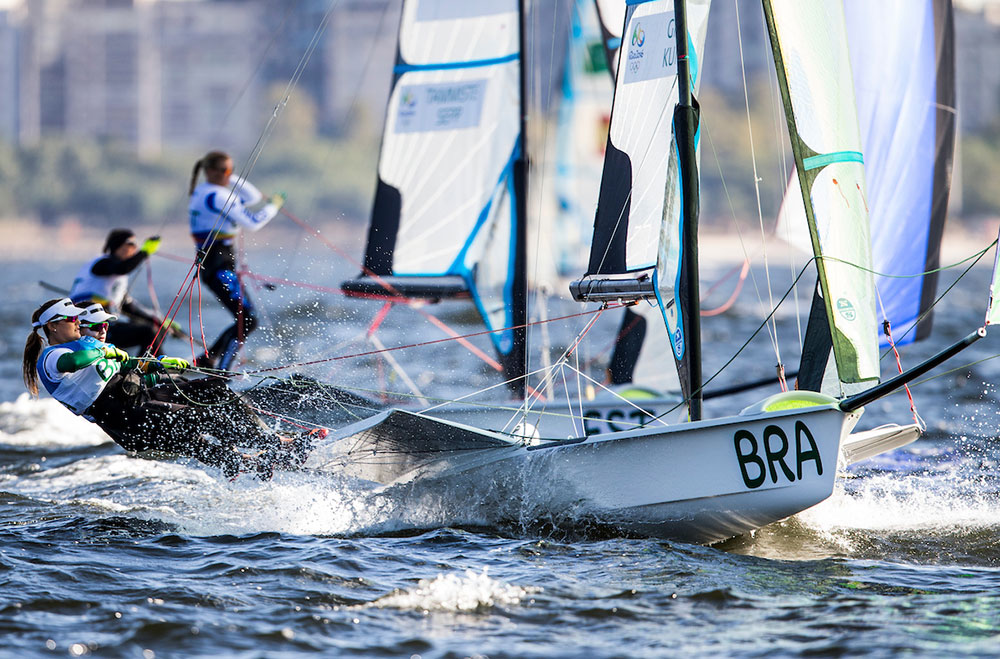 49erfx gold for Brazil. 2016 Rio Olympic Games: Sailing: Photo Sailing Energy/World Sailing.