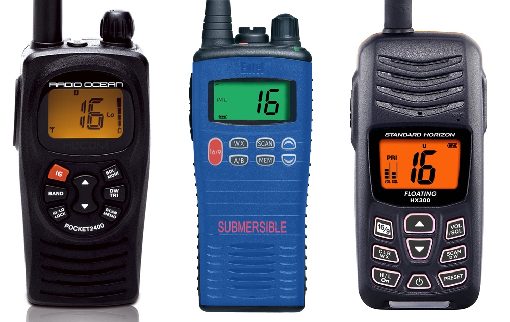 Handheld VHF The RA 2400 (2), the Entel HT20 (3) and the Standard Horizon HX300 (4).
