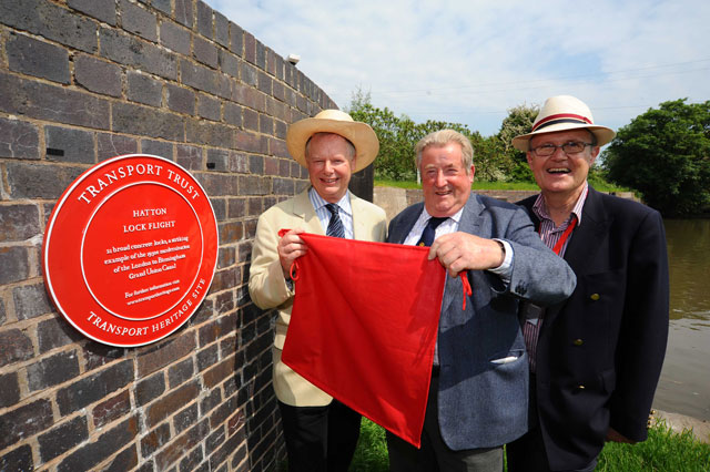 First Red Wheel plaque unveiled at Hatton Locks