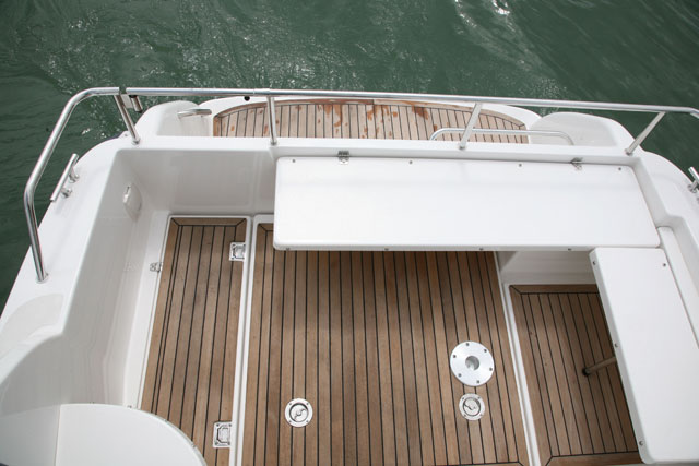 Sports fishing boat deck