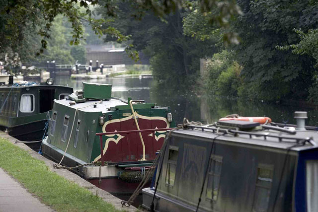 Narrowboats moored on a canal