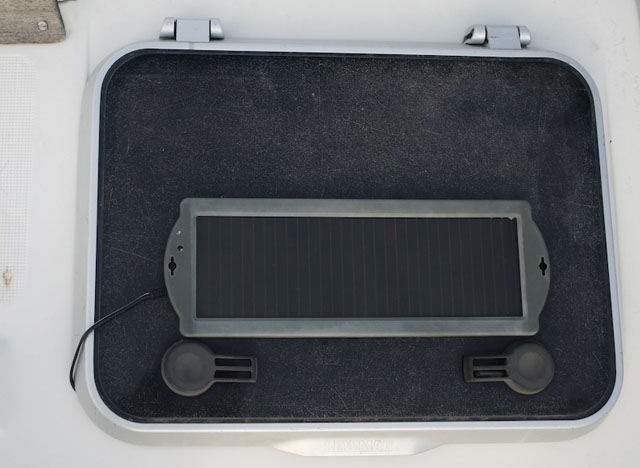 Small solar panel to top up batteries