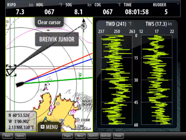 AIS on split screen chartplotter