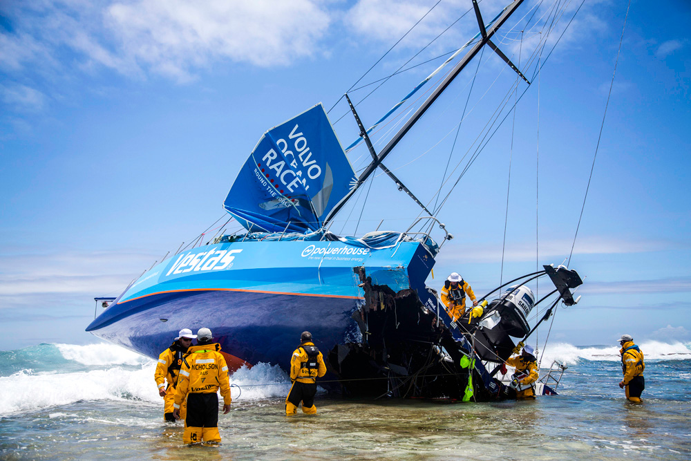Team Vestas Wind aground. Photo Brian Carlin/Volvo Ocean Race.