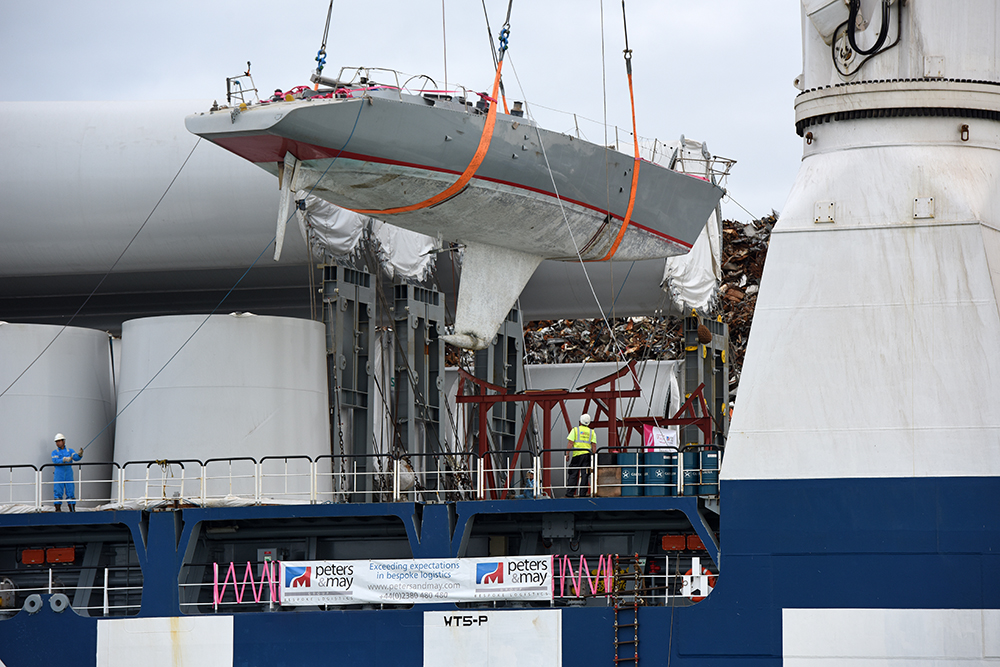Tracy Edwards Maiden being unloaded in Southampton photo Rick Tomlinson.