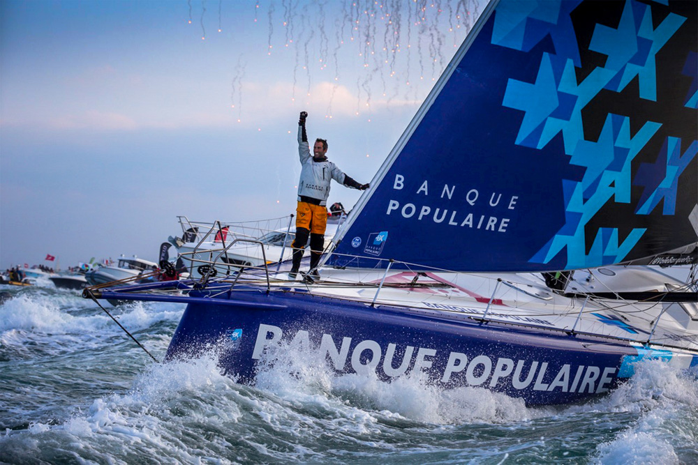 Finish arrival of Armel Le Cleac'h Vendee Globe 2016-17