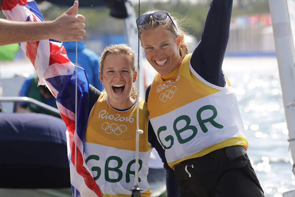 Hannah Mills and Saskia Clark 2016 Rio Olympic Games. Photo Richard Langdon/British Sailing Team.