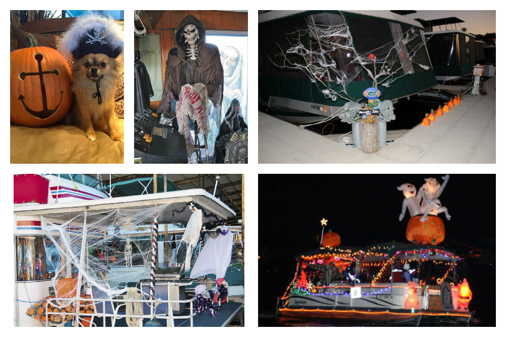 A few examples of boats decorated in America, images from Houseboat Magazine.