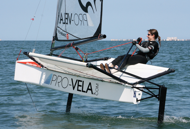 Foiling moth sailing in Mar menor