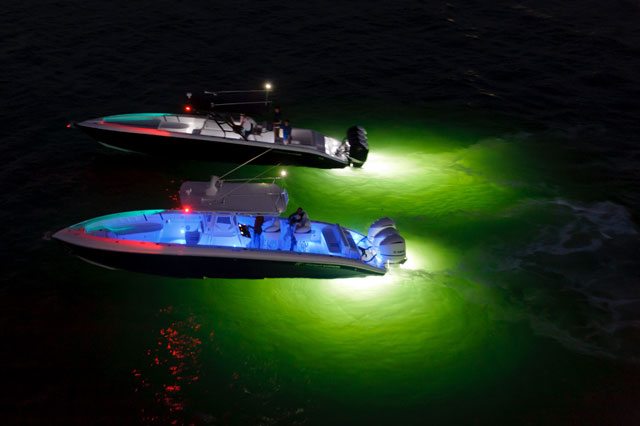 Ocean LED lights on fishing boats
