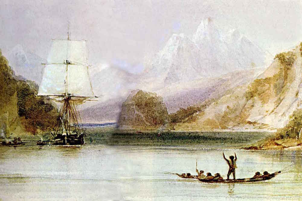 historic sea voyages: HMS Beagle by Conrad Martens