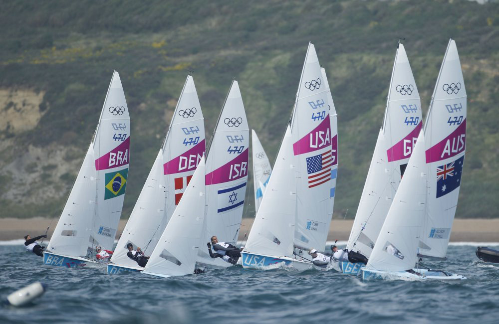 470s racing in Weymouth at the London 2012 Olympic Games. Photo Tom Gruitt/Creating Waves.