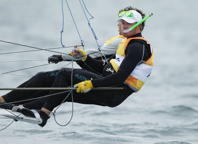 Australian 49er sailors wear snorkel
