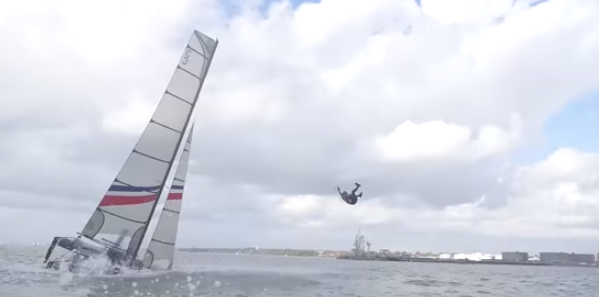 Watch Ben Ainslie Racing pitchpole Nacra F20