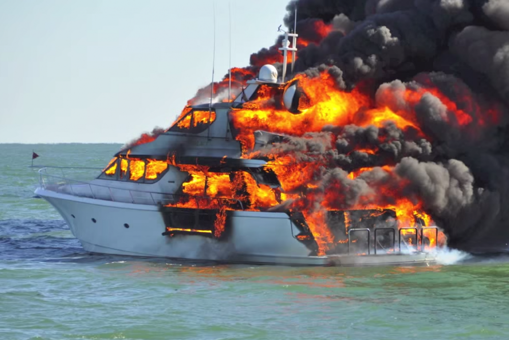 Fire at sea: crew rescued from burning boat