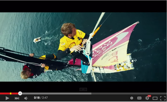 Kitesurfer Nick Jacobsen jumps off Volvo yacht