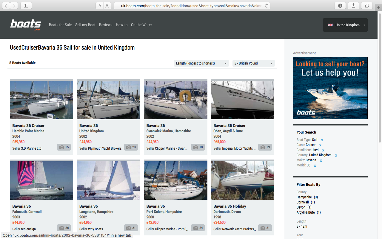 Boat valuation: Compare your boat to similar boats on the market