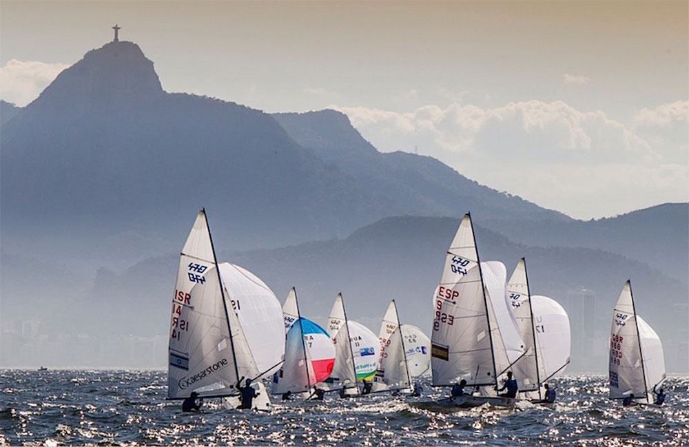 2016 Rio Olympics: 470s racing in the shadow of one of Rio's most famous landmarks. Photo Jesus Renedo/Sailing Energy/ISAF.