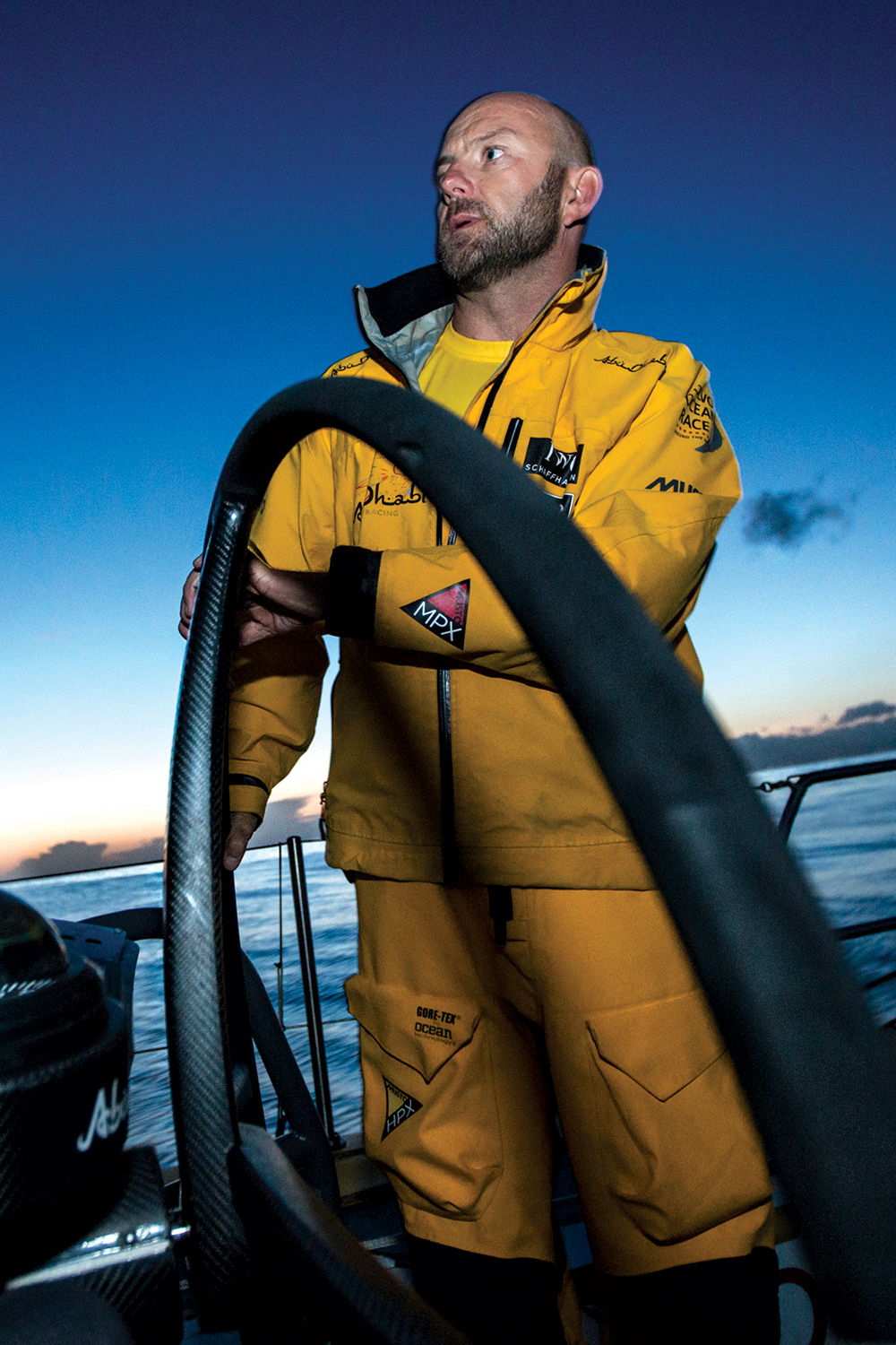 Ian Walker at the helm of Abu Dhabi's Azzam. Photo Knighton/Volvo Ocean Race.
