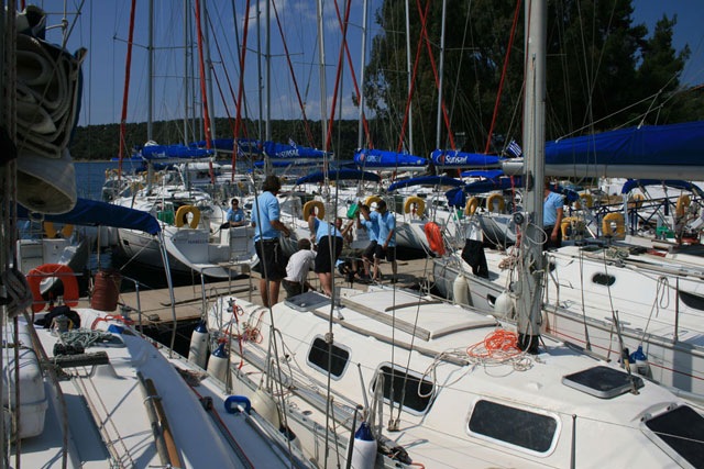 Charter boats in a marina