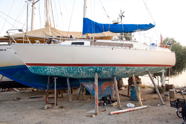 boat maintenance: Yacht ashore awaiting re-application of antifouling