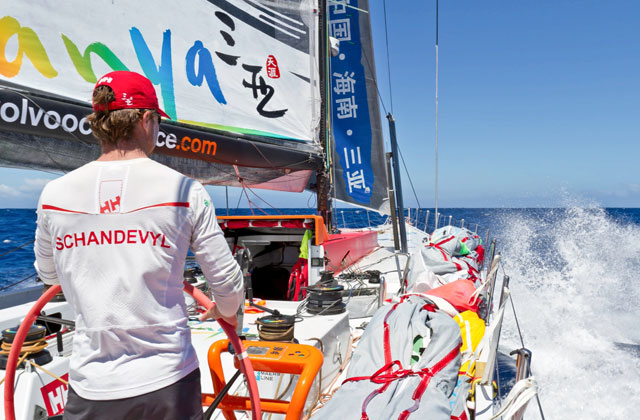 Volvo Leg 2 Leader, Team Sanya, is struck by damage