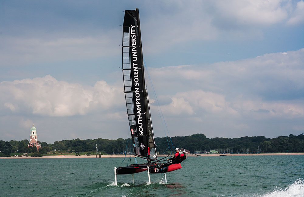 Solent Whisper foiling cat glides in to Southampton