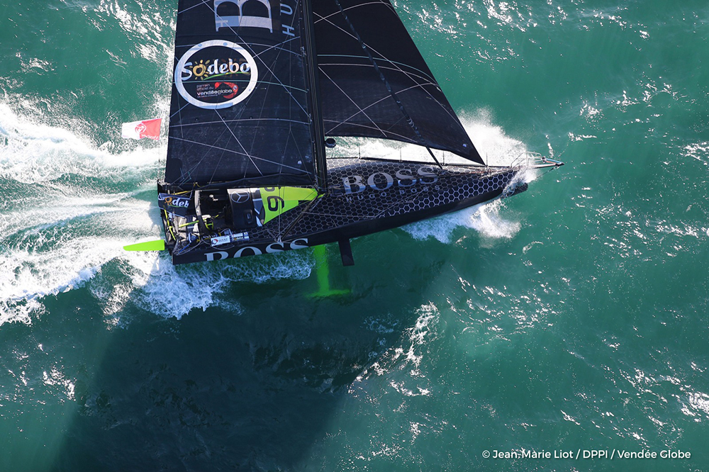 Hugo Boss aerial Photo Jean-Marie Liot/DPPI/Vendee Globe.