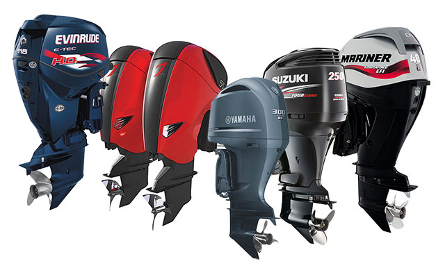 a line of outboards