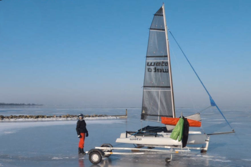 Ice yacht conversion: Weta trimaran on skates
