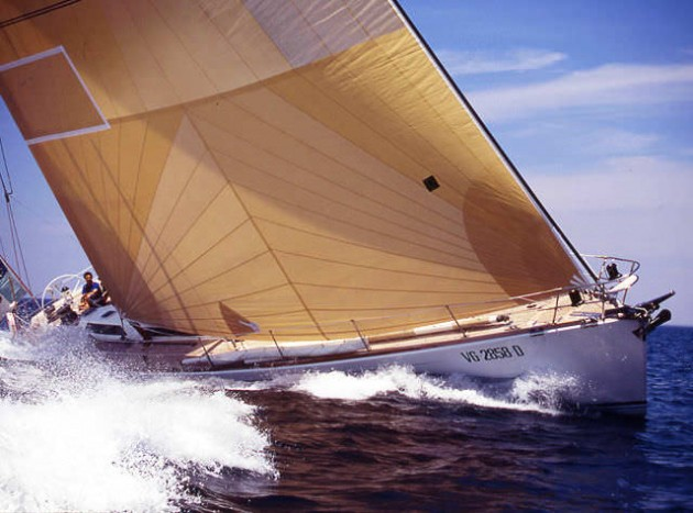 A photograph of the Baltic 67 sailboat under sail.