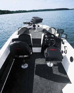 Fully rigged for walleye fishing, the ZX2050 we tested had lots of rod holders, a Pinpoint trolling motor, three Pinpoint sonars and Lowrance GPS. Factory installed Pinpoint network cables allow for up to three Pinpoint Sonar displays.