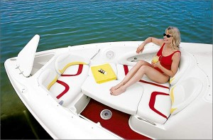 An anchor locker in the nose and contoured seating that converts to a sunpad are among the highlights of the open bow.