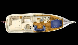 A cutaway overview of the 360 Express reveals a galley with an UltraLeather settee and a master stateroom with private head-compartment access.