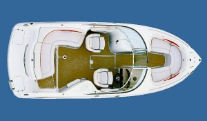 A bowrider layout includes a walk-through windshield for access to the open-bow area of the boat. (Photo courtesy Chaparral Boats)