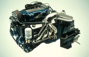 A complete stern-drive package includes an engine and the drive itself, which can be seen in the right-hand third of this photograph. (Photo courtesy Mercury Racing)