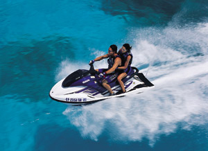 A 155-horsepower musclecraft, the Yamaha GP1200R earned top honors from Watercraft World magazine.